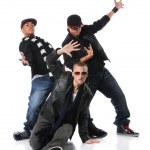 Three Young Man Dancing — Stock Photo
