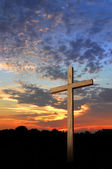 Wooden Cross and Sunset — Stockfoto