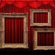 Red Stage Curtain With Gold Frames — Stock Photo