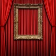 Red Curtain with Vintage Gold Frame — Stock Photo