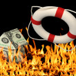 Stok fotoğraf: House of Money, Fire and Life Preserver