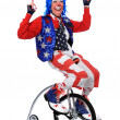 Clown Riding a Unicycle — Foto Stock