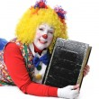 Clown Holding Book — Stock Photo