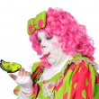 Clown Watching Butterfly — Stock Photo