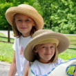 Sisters With Hats — Stock Photo