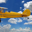 Vintage Biplane Over Clouds — Stock Photo
