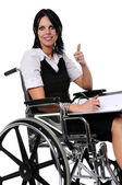 Woman on Wheelchair Expressing Positivity — Stock Photo