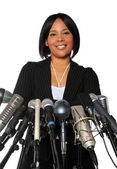 Woman Behind Microphones — Stock Photo
