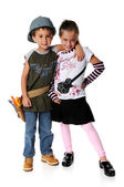 Boy and Girl in Costumes — Stock Photo