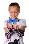 Young Girl With Butterfly — Stock Photo