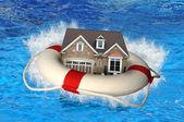 House With Life Preserver Crashing — Stock Photo
