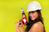 Young Woman With Cordless Drill — Stock Photo