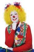 Clown with Yellow Hair Smiling — Stock Photo