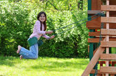 Young Girl on a Swing — Foto Stock