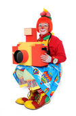 Clown With Toy Camera — Stock Photo