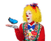 Clown Holding Blue Butterfly — Stock Photo