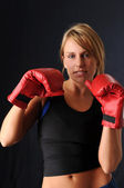 Woman With Training Gloves — Stock Photo