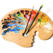 Artist's Palette and Brushes — Stockfoto