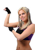 Girl Flexing — Stock Photo