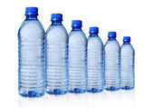 Bottled Water in Six Sizes — Stock Photo
