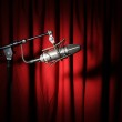 Vintage Microphone and Curtain — Stock Photo