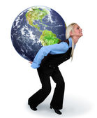 Woman Holding The Earth — Stock Photo