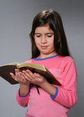 Young Girl Reading Bible — Stock Photo