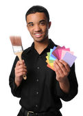 Young Man With Brush and Swatches — Stock Photo