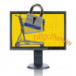 LCD Monitor And INternet Shopping - Stock Photo
