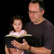 Father and Daughter Reading Bible — Stock Photo