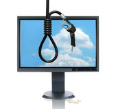 LCD Monitor and Gasoline Noose — Stock Photo