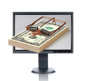LCD Monitor and Money Trap — Stock Photo