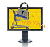 LCD Monitor And INternet Shopping — Foto de Stock