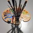 Stock fotografie: Artist's Brushes and Palette with Shadows