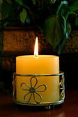 Candle With Ornate Holder — Stock Photo
