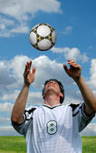 Soccer player and Ball — Stock Photo