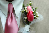 Boutonniere and Pink Tie — Stock Photo