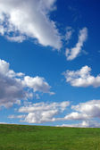 Bright Blue Sky with Clouds and Grass — Stock Photo