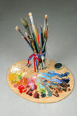 Artists Brushes and Palette — Stock Photo