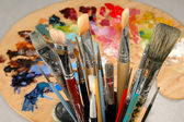 Artist's Brushes and Palette — Stok fotoğraf