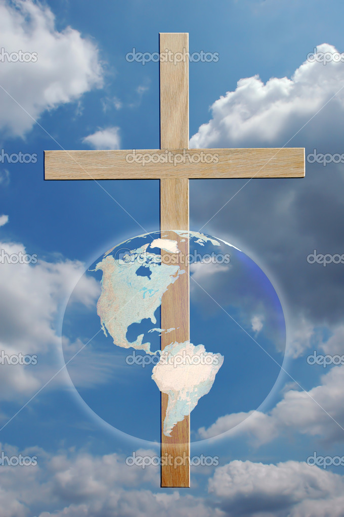 The world and cross over sky — Stock Photo #16854673