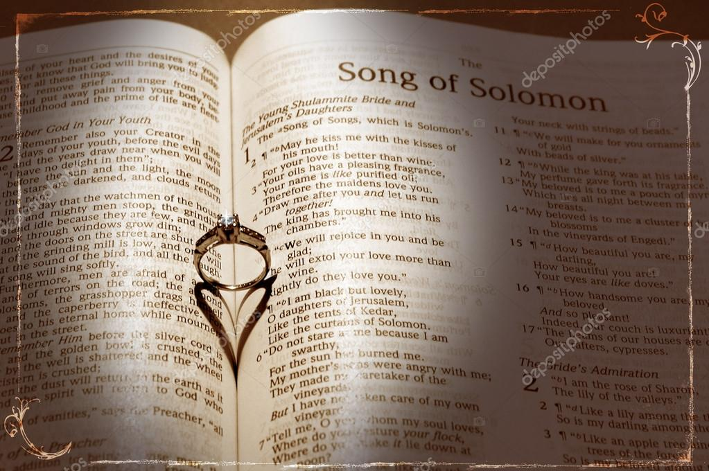 Wedding Ring and heart shaped shadow over a Bible — Stock Photo #16859797