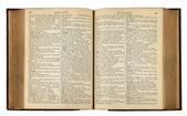 Libro d'epoca con testo — Foto Stock