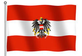 Flag of Austria with Coat of Arms Waving — Stock Photo