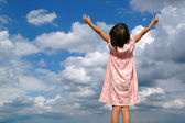 Litle Girl With Arms Raised — Stock Photo
