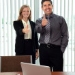 Office Workers Showing the Thumbs Up — Stock Photo