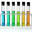 Colored Liquids in Six Test Tubes — Foto de Stock