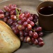 Tray with Bread, Grapes and Cup of Wine — Stock Photo