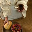 JEsus Hands Holding Communion - Stock Photo