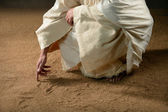Jesus Writting in the Sand — Stockfoto